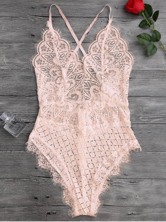 $13.99 Scaolloped Sheer Eyelash Lace Teddy Bodysuit - APRICOT M