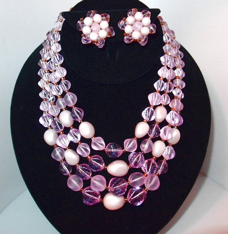 Pale Purple Four Strand Beaded Set Includes Necklace and Earrings
