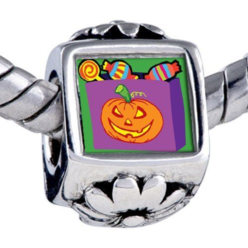 Pugster Halloween Bead Pumpkin Candy Bag Beads Fits Pandora Bracelet Pugster. $12.49. Fit Pandora, Biagi, and Chamilia Charm Bead Bracelets. It's the photo on the flower charm. Unthreaded European story bracelet design. Bracelet sold separately. Hole size is approximately 4.8 to 5mm