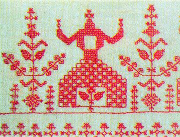 Carelian embroidery, double sided running stitch, Vepsään kirjonta 1800