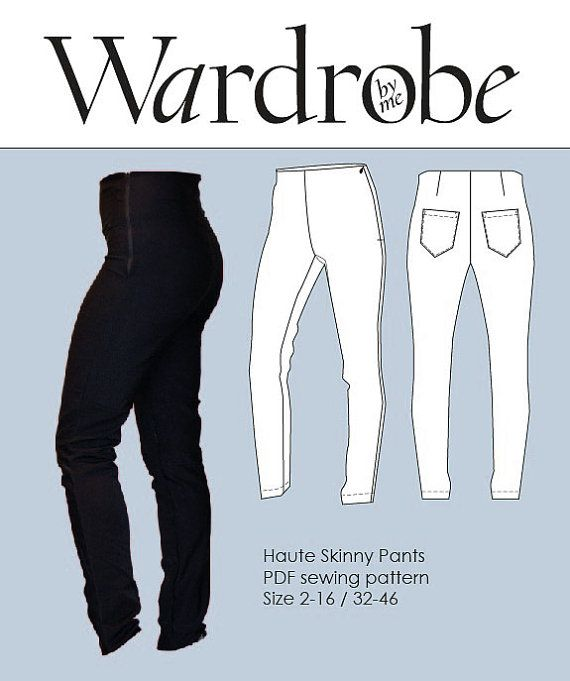 The Haute skinny pants are a super fitted high waisted pant with a facing and an invisible zipper in the left side. The pattern is designed with 4