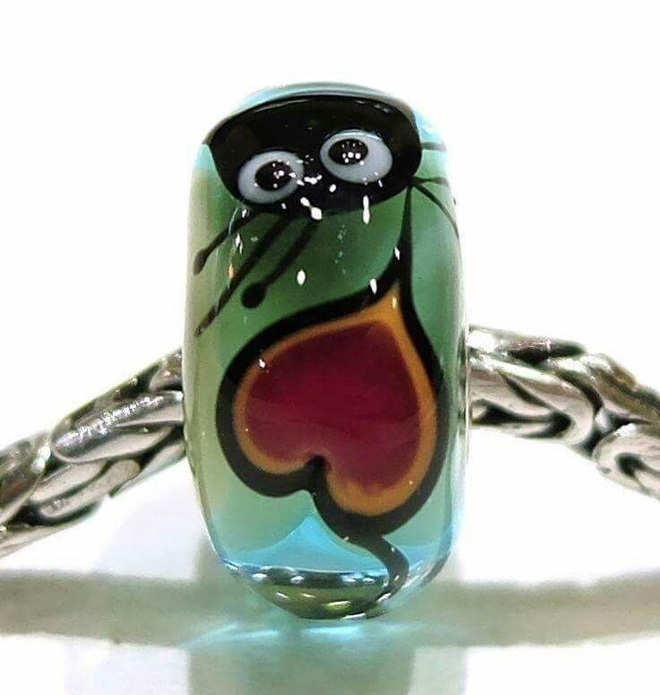 Bead artigianale Glass bonbon in vetro e argento 925,  compatibile con trollbeads, ohm beads, redbalifrog, tedora, pandora, ecc Facebook: gioielleria il diamante www.gold-jewels-italy.com