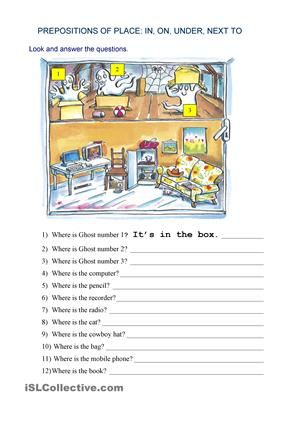 Place Prepositions - Worksheet 1 (B