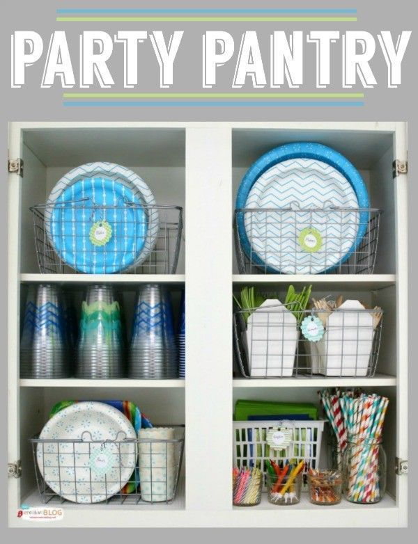 Party Pantry for Party Supplies | Organize your paper plates and napkins! You'll always have party supplies. Be ready to entertain quickly! http://todayscreativelife.com