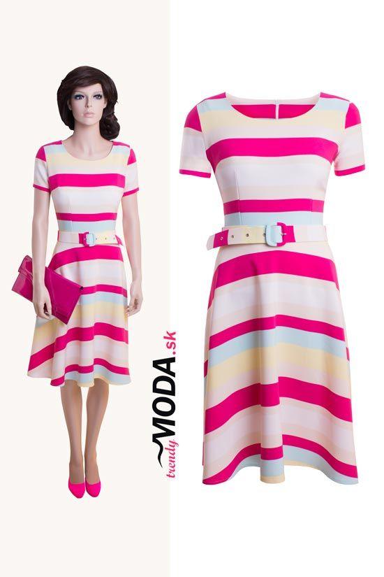Pruhované dámske štýlove šaty z ľahkého, vzdušného materiálu-trendymoda.sk