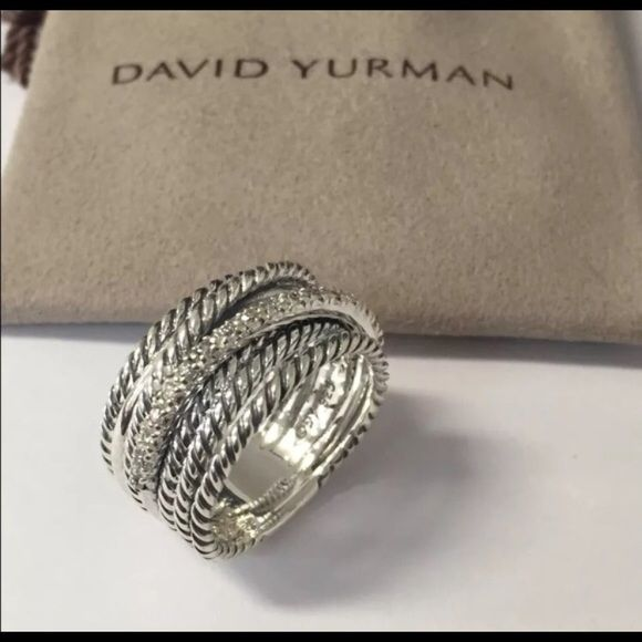 David Yurman crossover W/ Diamonds Sterling Ring Pavè diamonds David Yurman crossover diamond ring 0.18 total carat weight ring size 7.5 (can be resized for free) Amazing condition! Recently cleaned at David Yurman store. Total with Tax $952.88 (retail). Pouch is not included it is used for picture purposes only. David Yurman Jewelry Rings
