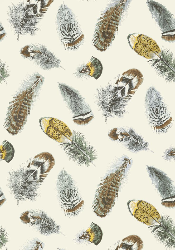 BIRD Feather Wallpaper,  Aqua on Cream, T14258, Collection Imperial Garden from Thibaut