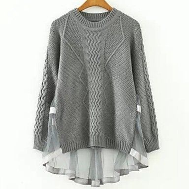 Women's Net Yarn Splicing Bud Silk Dovetail Sweater - GBP £ 21.94