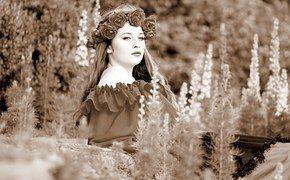 Girl, Flowers, Wreath, Beauty