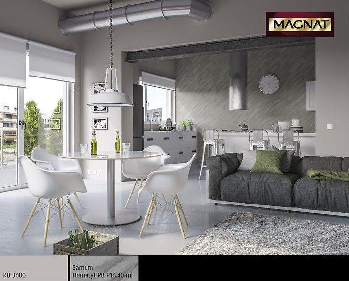 Komfort i ponadczasowy styl – to motyw przewodni w tym loftowym wnętrzu. Zastosowany efekt Samum nadaje przestrzenności i jest idealnym tłem do białych i stalowych elementów wyposażenia. Całość kompozycji dopełnia butelkowa zieleń dodatków.