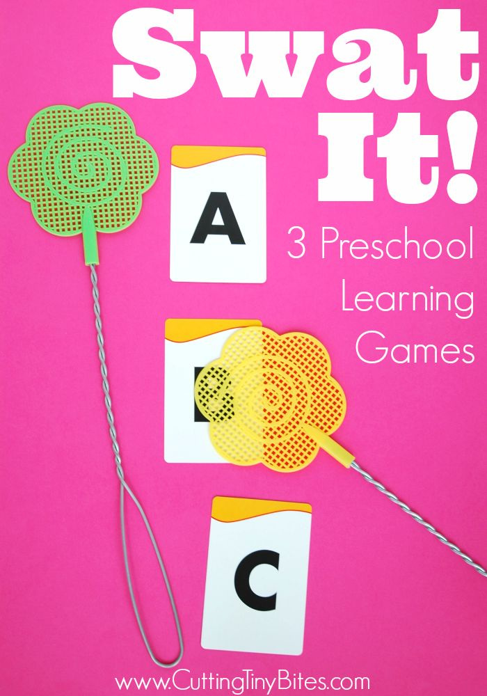 Swat It!  3 Preschool Learning Games.  Easy gross motor activity that can be adapted for colors, shapes, letters, numbers, or any early learning objective.