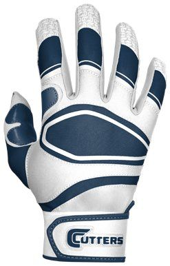 Cutters Gloves Youth Power Control Baseball Batting Glove, White/Navy, Large