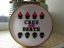 Says it all really: Crafty Needlepoint, Cake, Stitches Hobbies, Izzard Crosses, Crosses Stitchery, Crosses Stitches, Stitches Win, Death Crosses, Crafty Crafterson