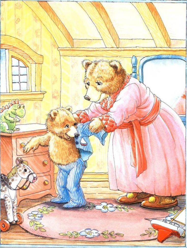 """""""Jesse Bear, What Will You Wear?"""" by Nancy White Carlstrom, illustrated by Bruce Degen, 1996 (http://www.amazon.com/Jesse-Bear-What-Will-Wear/dp/068980623X/ref=pd_sim_b_8)"""