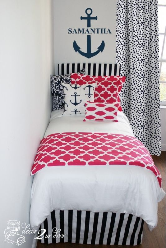 Pink & Navy Nautical girls bed