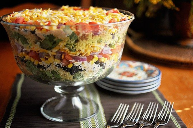 South by Southwest Layered Cornbread Salad |  http://loriesmississippikitchen.com/2011/10/south-by-southwest-layered-cornbread-salad.html