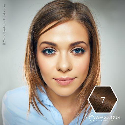 Donkerblond - natuurlijk mooi. Deze 7.0 staat prachtig bij lichte huid, blauwe ogen. #haarverfzonderammonia #7.0 www.wecolour.com