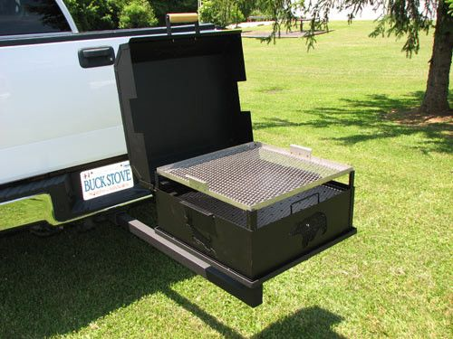The Reese hitch mounted charcoal grill turns your vehicle