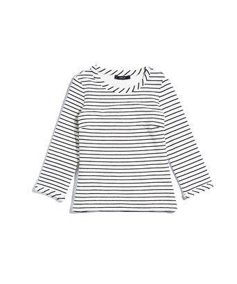 T-shirt ribbel stripe - Gestreepte top gevoerd met tricot in stretschkwaliteit. De top sluit getailleerd aan en heeft brede, schuine biezen bij hals en mouwzoom.