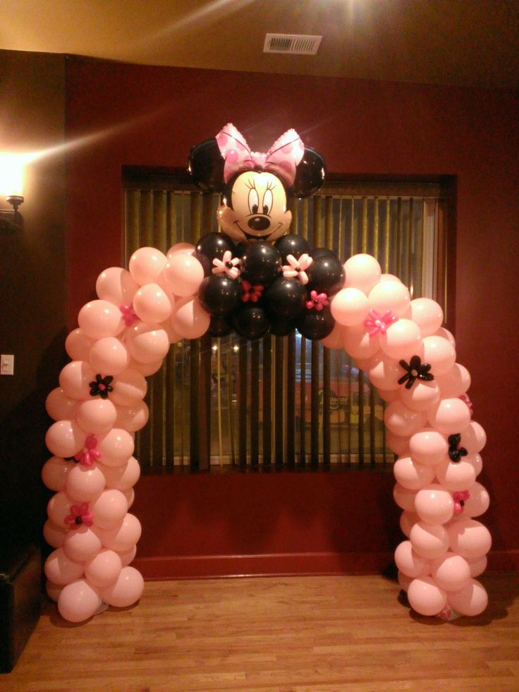 Minnie mouse arch for a baby shower balloon decoration m for Balloon decoration minnie mouse