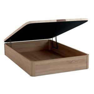 Sommier Coffre couleur chêne Sonoma 140x190, base de rangement en bois, grande espace de stockage, sommier recouvert de tissu respirant 3D, ouverture frontal