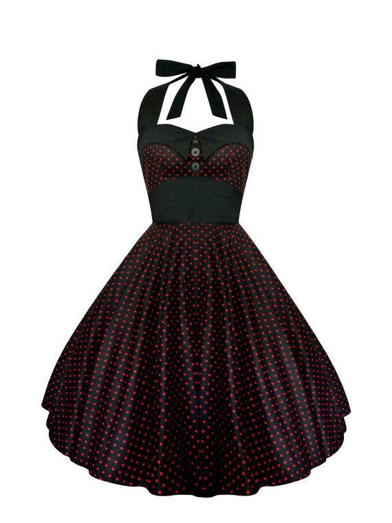 The sensational Rockabilly Dress PinUp Dress Black Polka Dot Dress Plus Size Dress Vintage 50s Retro Dress Gothic Dress Steampunk Swing