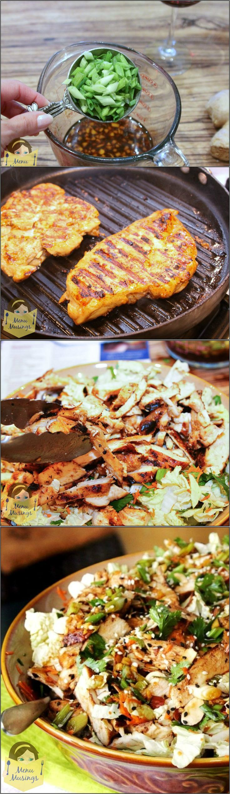 A step-by-step pictures Grilled Ginger-Sesame Chicken Salad recipe  The salad was easy to make, FULL of HUGE flavors, and very little fat. #pioneersettler