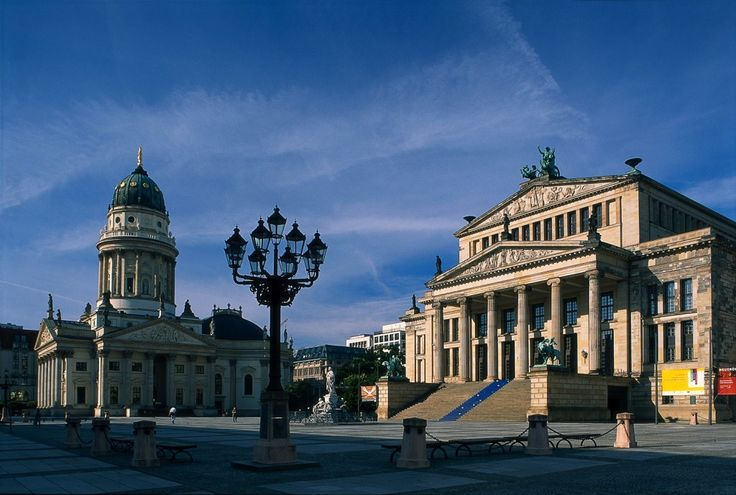 Berlin, Gendarmenmarkt square, Konzerthaus concert hall and German Cathedral