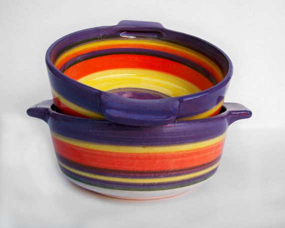 Set of two handmade ceramic bowls/pots | Ceramic stew pots handmade pottery |  Violet, orange and yellow striped bowls | Great kitchen decor