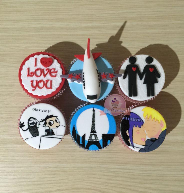 Cupcake de Naruto. Cupcake pintado a mano. Cupcake de avion. Cupcake de paris. Cupcake de amor