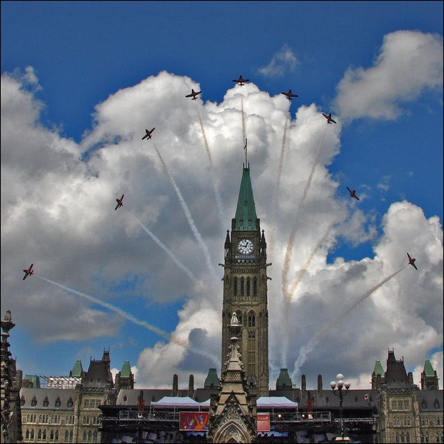 CANADA DAY by ViaMoi, via Flickr - World Famous Snowbirds doing a bloom behind the Parliament buildings in Ottawa, Canada during Canada Day celebrations.