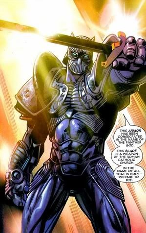 Black Panther (Character) - Comic Vine T'Calla in his Thrice-blessed Armor, wielding the Ebony Blade.
