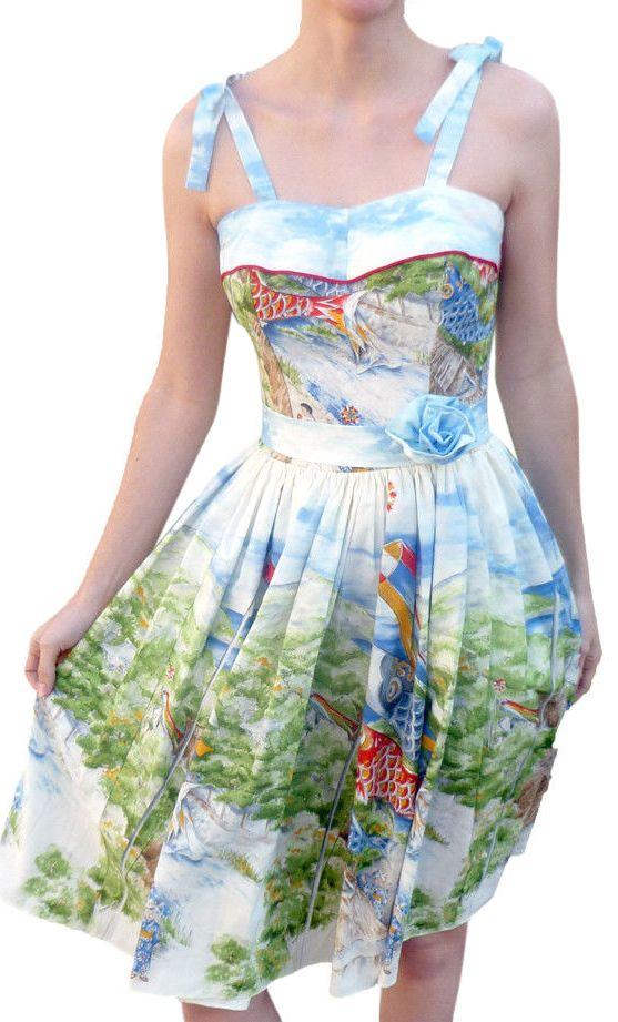 FOR SALE EBAY   ModCloth Asian Go Fly a Kite Dress. Vintage Style. Koi Fish Kimono Beach Seaside Picture Blue