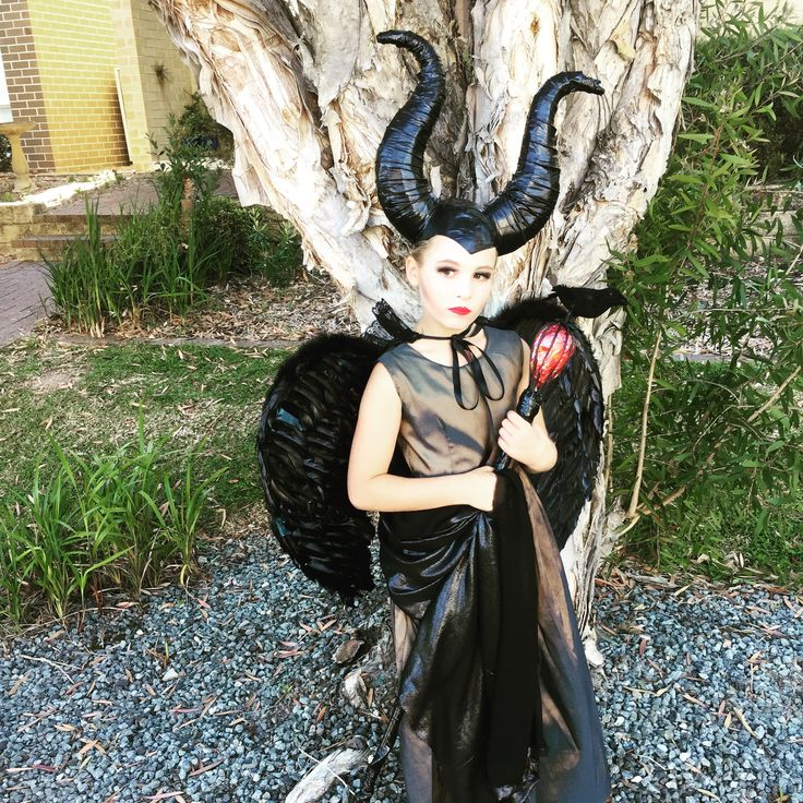 Maleficent costume homemade  Kids maleficent diy Halloween  Kids Halloween