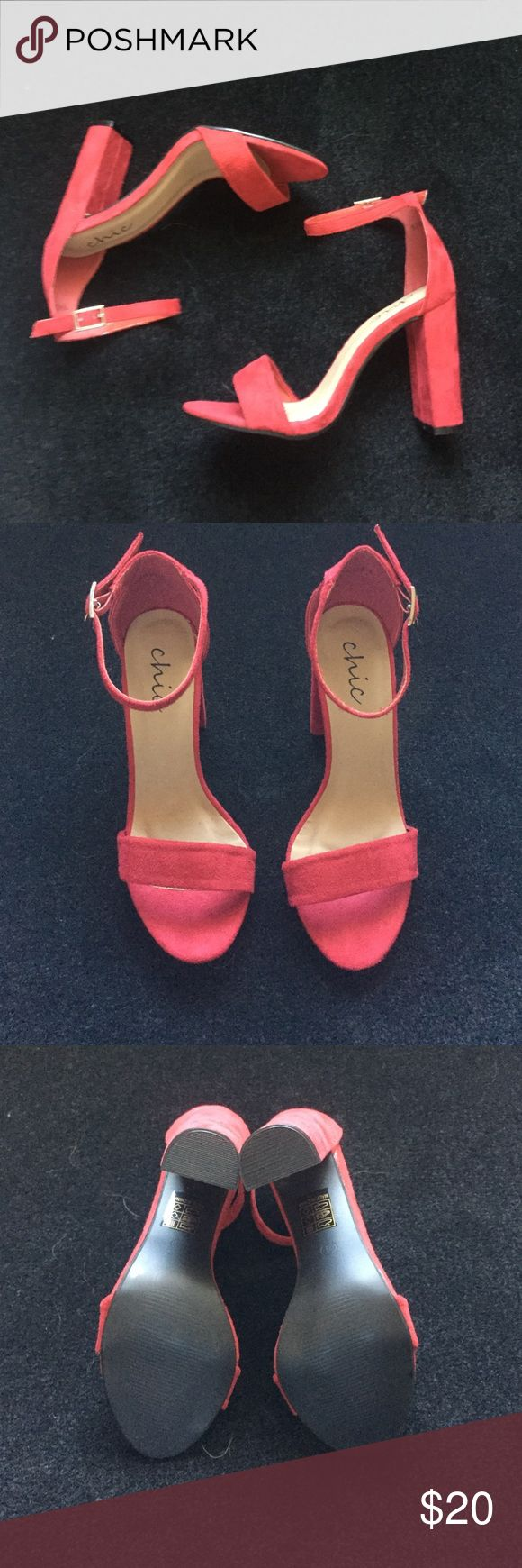 Red heeled sandals Cute never worn red sandals. Comes with tags and box. Super comfortable Shoes Sandals