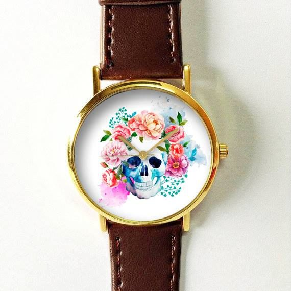 Floral Skull Watch Watches for Men Women Leather by FreeForme