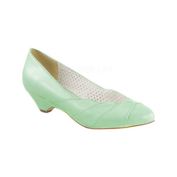 Women's Pin Up Lulu 05 Pump - Mint Faux Leather Casual (76 AUD) ❤ liked on Polyvore featuring shoes, pumps, casual, casual shoes, green, short heel pumps, vegan pumps, low heel shoes, retro shoes and pin up shoes