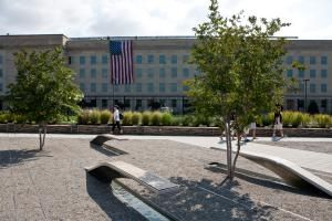 The Pentagon Memorial and the Pentagon building in Arlington, Virginia - Photo by Brendan Hoffman/Getty Images News Collection/Getty Images