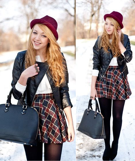 Sheinside Jacket, Choies Skirt, Indressme Top & Hat, E Torba Bag, Merrin And Gussy Ring With A Fox, Papilion Shoes