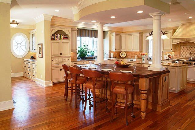 Kitchen island with columns and double island kitchen for Dual island kitchen designs
