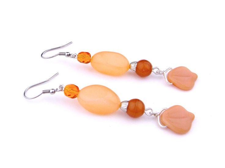 Vintage Long Czech Glass Earrings Drop Silver Tone Brown Orange Flower Petal #Unbranded #DropDangle