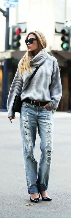 ripped jeans & cowl-neck sweater --- pair   it with doc martins and we'll talk.