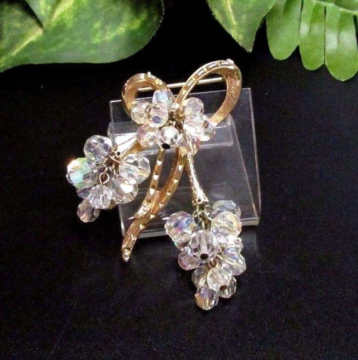 Vintage Quality JULIANA D&E Aurora Borealis Beaded Golden Bow Pin Brooch #Juliana