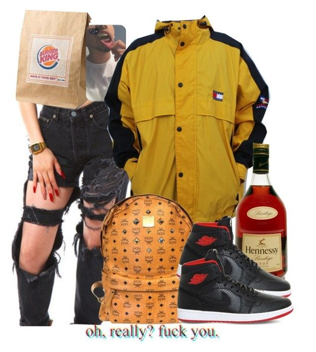 """""""Hey lil mama would you like ta be my sunshine?"""" by avi-ajhanae ❤ liked on Polyvore featuring Tommy Hilfiger, MCM and NIKE"""