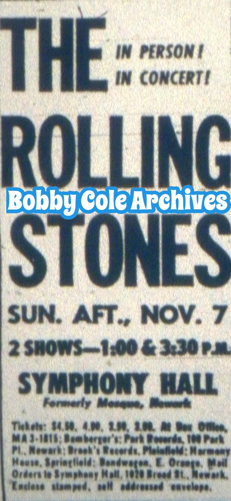 50 best vintage ads of newark nj images on pinterest vintage ads rolling stones at symphony hall 1965 aiddatafo Image collections