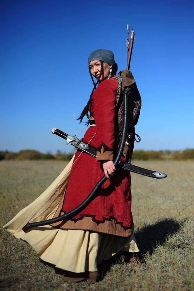 A Kazakh female warrior.