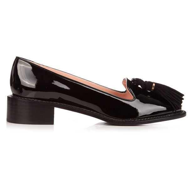 Rochas Leather tassel loafers ($611) ❤ liked on Polyvore featuring shoes, loafers, black, black and gold loafers, loafers moccasins, rochas shoes, patent shoes and tassel shoes