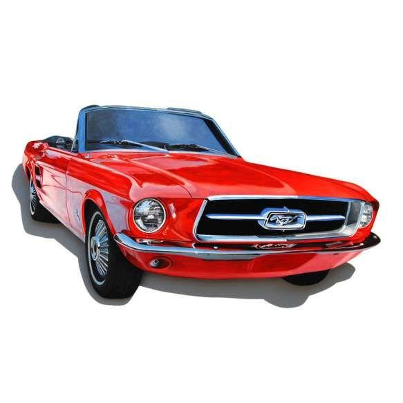 MAURO COSTA  med: 49 x 90 cm. 2017  pintura hiper-realista á óleo sobre placa m.d.f.  Mustang vermelho