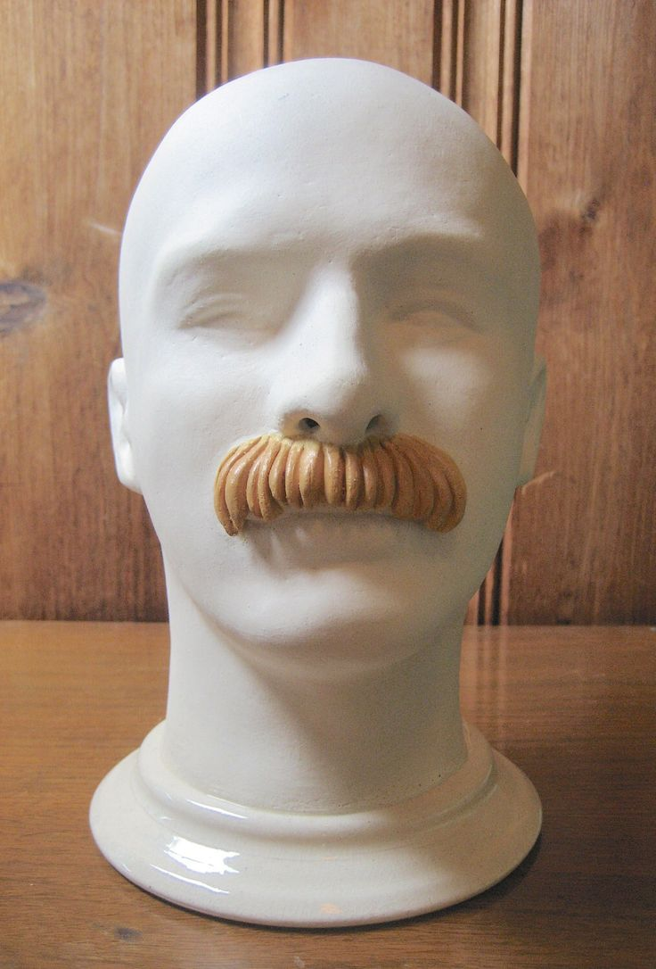 Pottery Art Mannequin Head Sculpture - Male Mannequin Bust with Facial Hair - Clay Mannequin Man, Blonde Walrus Mustache - Objet d'Art Face by edamamacita on Etsy https://www.etsy.com/listing/221236612/pottery-art-mannequin-head-sculpture