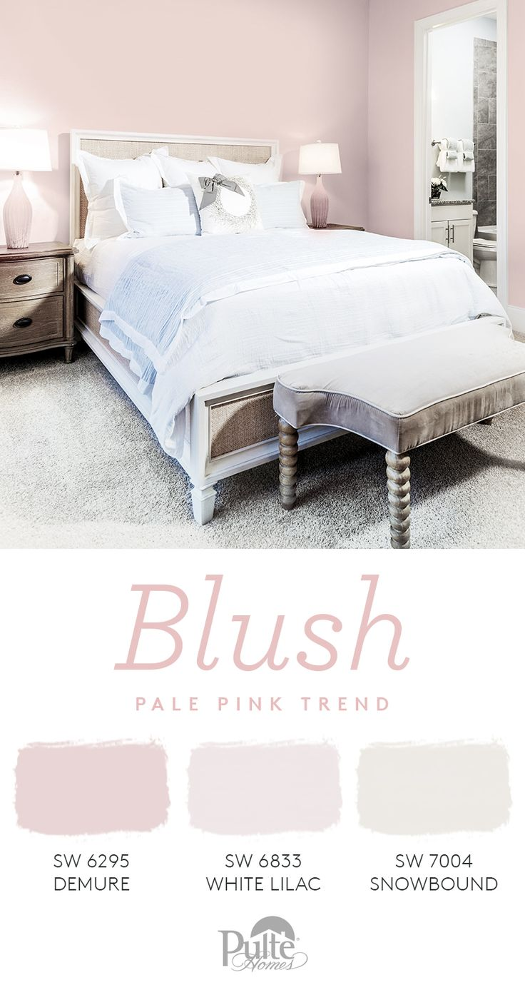 Sweet and chic at first blush! Refresh your bedroom walls with pretty-in-pink paint colors on trend for spring. | Pulte Homes